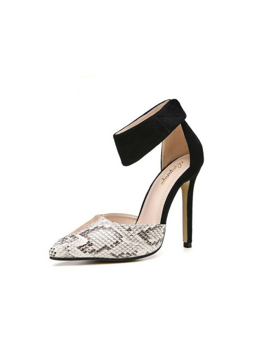 Sandali decolte pelle sintetica eleganti stiletto 12 cinturino bianco noir cw188