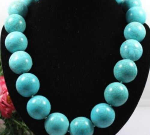 """20mm Round Turquoise Stone Gemstone Necklace Woman 18/""""inch"""