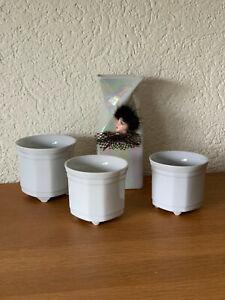 4teilig Konvolut 3 BLUMENTÖPFE ÜBERTOPF weiss Keramik Vase