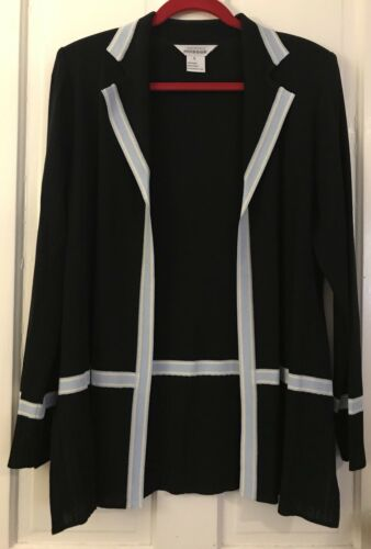zwart dames Open Carrière Lange front echt Exclusief gebreide blouse top L Misook WvnOwI