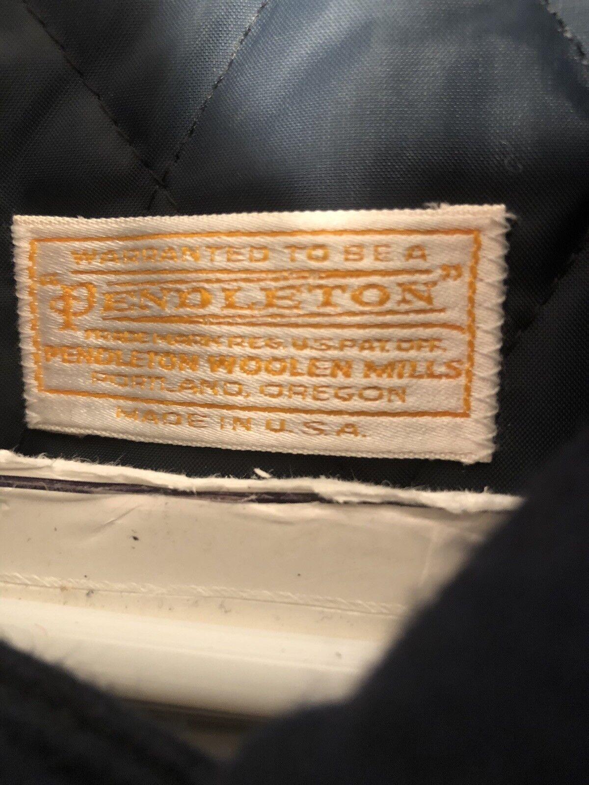 Pendleton Vintage Blue Wool Luxury Toggle Duffel … - image 8