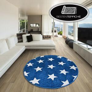 Modernen-Weich-Teppich-SKETCH-STERN-FA68-Kreis-blau-creme-angenehm-modisch