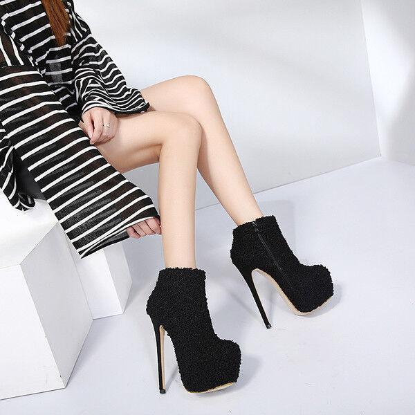 stivali stivaletti bassi scarpe stiletto nero plateau 14.5 cm simil pelle 9732