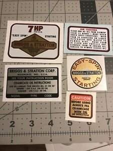 Briggs & Stratton 170702 decal set 7 hp Mustang, Murray, MTD And Others