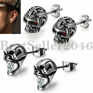 2Pairs-Gothic-CZ-Skull-Biker-Stud-Earrings-Stainless-Steel-Mens-Women-Punk-Retro