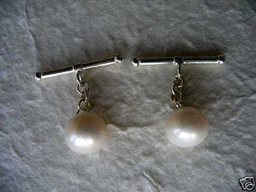 10mm White Cultured Pearl Cuff Links Sterling Silver