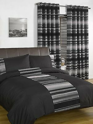 STRIPED CHENILLE Duvet Cover Set Bedding / Eyelet LINED Curtains / Cushions
