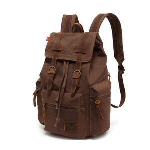 Mens-Lady-Vintage-Canvas-Backpack-School-Bag-Satchel-Rucksack-Travel-Camping-Bag