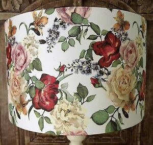 Vintage floral lamp shade lampshade shabby chic cream free gift ebay image is loading vintage floral lamp shade lampshade shabby chic cream aloadofball Image collections