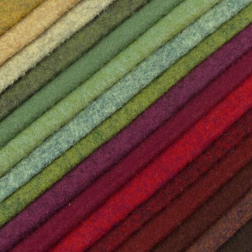 Woolfelt ~ 22cm X 90cm ~ Hedgerow//Mezcla de Lana Fieltro Tela Rojo Talle Verde