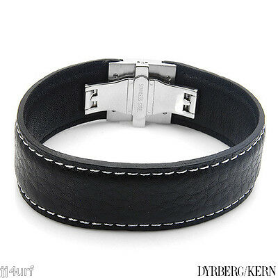 Black Leather Bracelet with White Overstitching, DYRBERG/KERN, DEV/B, 8 Inch