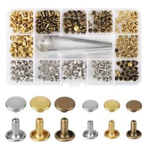 180-Stk-Metall-Leder-Nieten-Hohlnieten-Doppel-Hohlnieten-Ziernieten-mit-Werkzeug