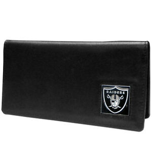 Oakland-Raiders-Black-Leather-Checkbook-Cover-NFL-Football-Licensed