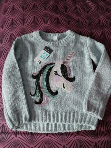 Primark Girls Sequin Knitted Unicorn Jumper Top Grey Glittery Age 3-4