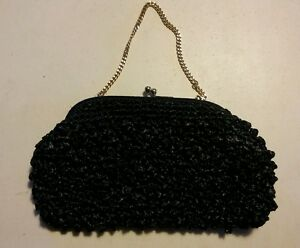 015-Vintage-Made-in-Japan-Black-Knot-Woven-Purse-HAndbag-Clutch-Metal-Chain