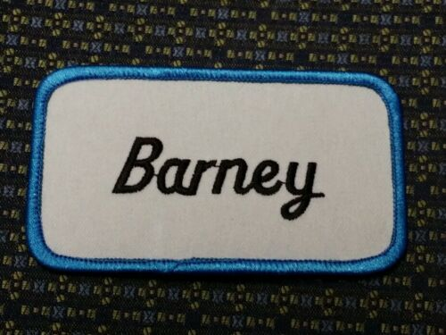 BARNEY NAME TAG BLUE AND WHITE Iron or Sew-On Patch