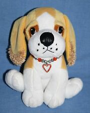"Fiesta Valentine DOG 8"" Heart Charm Bracelet Collar Tan White Soft Plush Toy Pup"