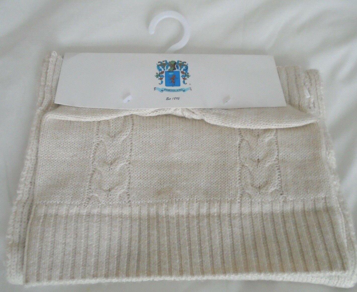 Ladies Portolano Cabled Hat & Scarf Set Light Beige / Ecru 50% Wool BNWT