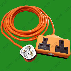 5m-Heavy-Duty-Rubber-UK-Mains-Lead-Extension-Cable-13A-2-Gang-Socket-BS-1363