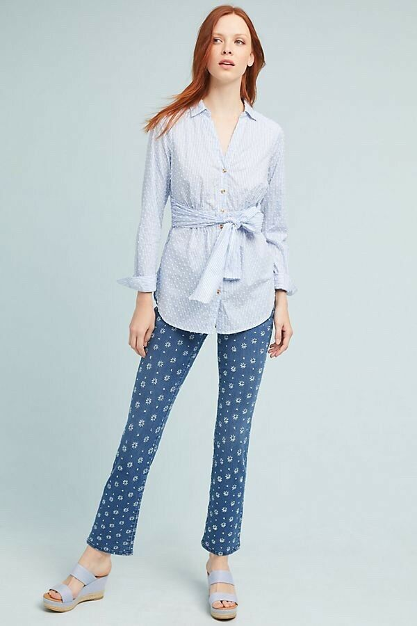 NWT Anthropologie Pilcro Embroidered High-Rise Cropped Bootcut Jeans 32