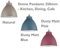 Metal Industrial Dome Pendant Lamp Shade Ceiling Light -in Pink, Blue or Natural
