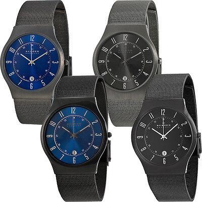 Skagen Titanium Case SS Mesh Band Mens Watch | Blue or Black Versions