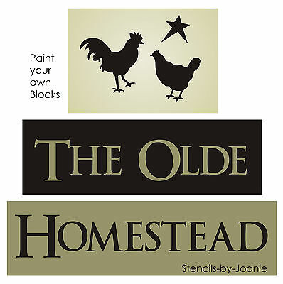 Primitive STENCIL Olde Homestead Rooster Chicken Star Country Farm Sign Blocks