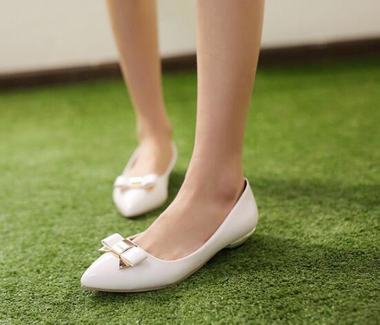 Ballerines mocassins chaussures pour femmes élégant blanc talon 2.5 cm