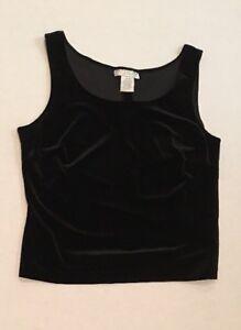 f6cc36cba4 Jackie Jon Solid Black Velvety Sleeveless Tank Top Dressy Holiday