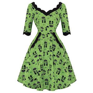 Voodoo-Vixen-Katnis-Cat-Green-Rockabilly-1950s-Retro-Vintage-Flared-Party-Dress