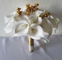 Ivory Calla Lily Gold Baby Breath Bridal Wedding Bouquet & Boutonniere