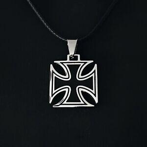 Edelstahl-Leder-Koenigskette-Herren-Damen-Maenner-Anhaenger-Malteserkreuz-Kreuz