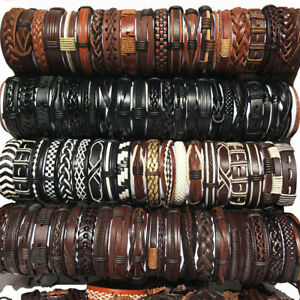 Details About Party Gift 30pcs Random Mix Styles Leather Bracelets Cuff Men S Women Jewelry