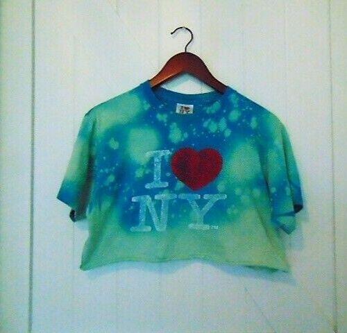 Custom Hand Bleached & Cropped I Love NY T-Shirt S