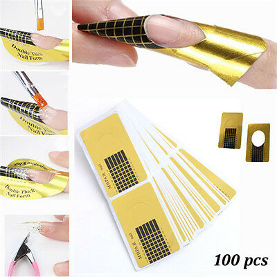 100Pcs Golden Nail Art Tips Extension Forms Guide French DIY Acrylic UV Gel Hot