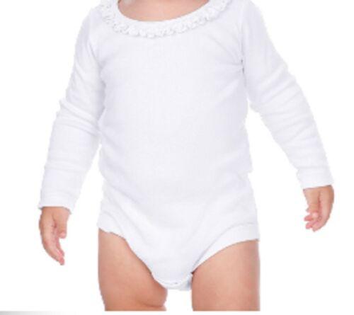 Blank Ruffle Trimmed Girls One Piece Creeper T Shirt 100/% Cotton Long Sleeved