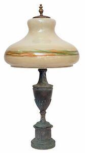Riesige-original-Jugendstil-Prunkleuchte-Salonlampe-70cm-hoch-gruen-1920