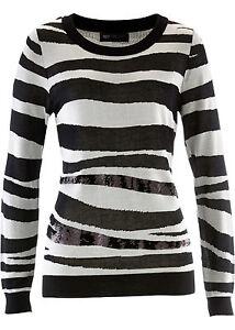 Damen-Pullover-Pulli-Sweater-Rundhals-Langarm-Freizeit-Zebra-Groesse-52-54-NEU