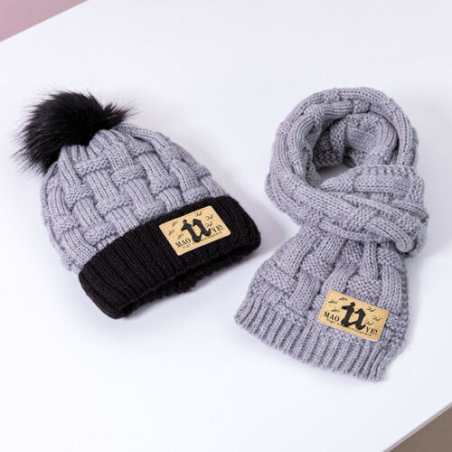 Winter Boys Girls Kids Hat and Scarf Set Warm Wool Knitted Christmas Gift