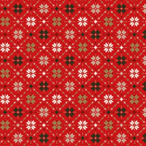 100/% Algodón Popelín Fair Isle Metálico Tejido Navidad Copo De Nieve 135cm Ancho