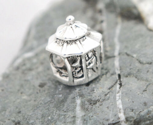 .925 SILVER BEAD EUROPEAN CHARM FOR BRACELET #A208 WEDDING GAZEBO NEWLY WEDS NEW