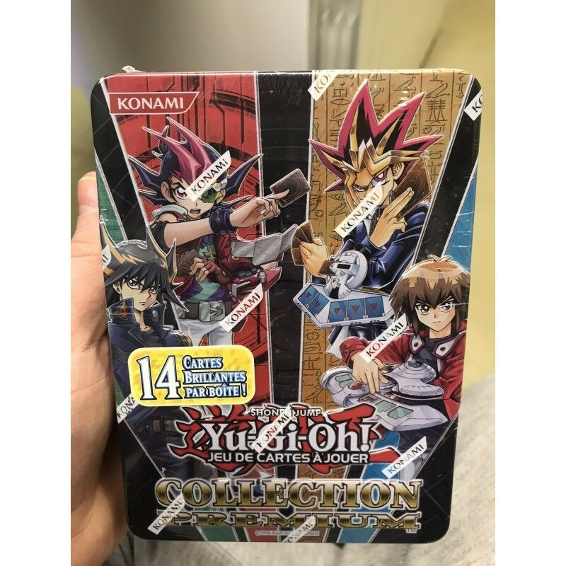 Yu gi oh tin box 14 cards shiny collection premium francais nine booster