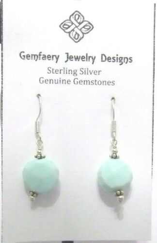 Sterling Silver Faceted Blue PERUVIAN OPAL Dangle Earrings...Handmade USA