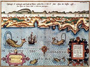 ART-PRINT-POSTER-MAP-OLD-BISCAY-FRANCE-MONSTER-OCEAN-NOFL0669