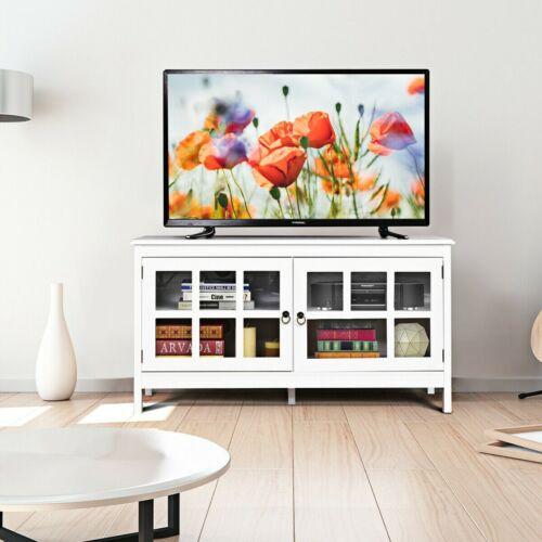 Modern TV Wall Unit Entertainment Center Cabinet Wood Storage Console 2 Doors US