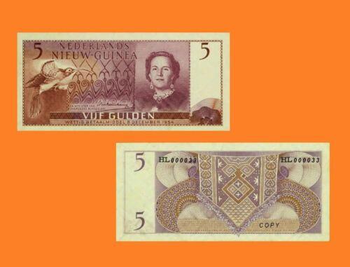 Reproductions Netherlands New Guinea 5 Gulden 1954 Queen Juliana UNC