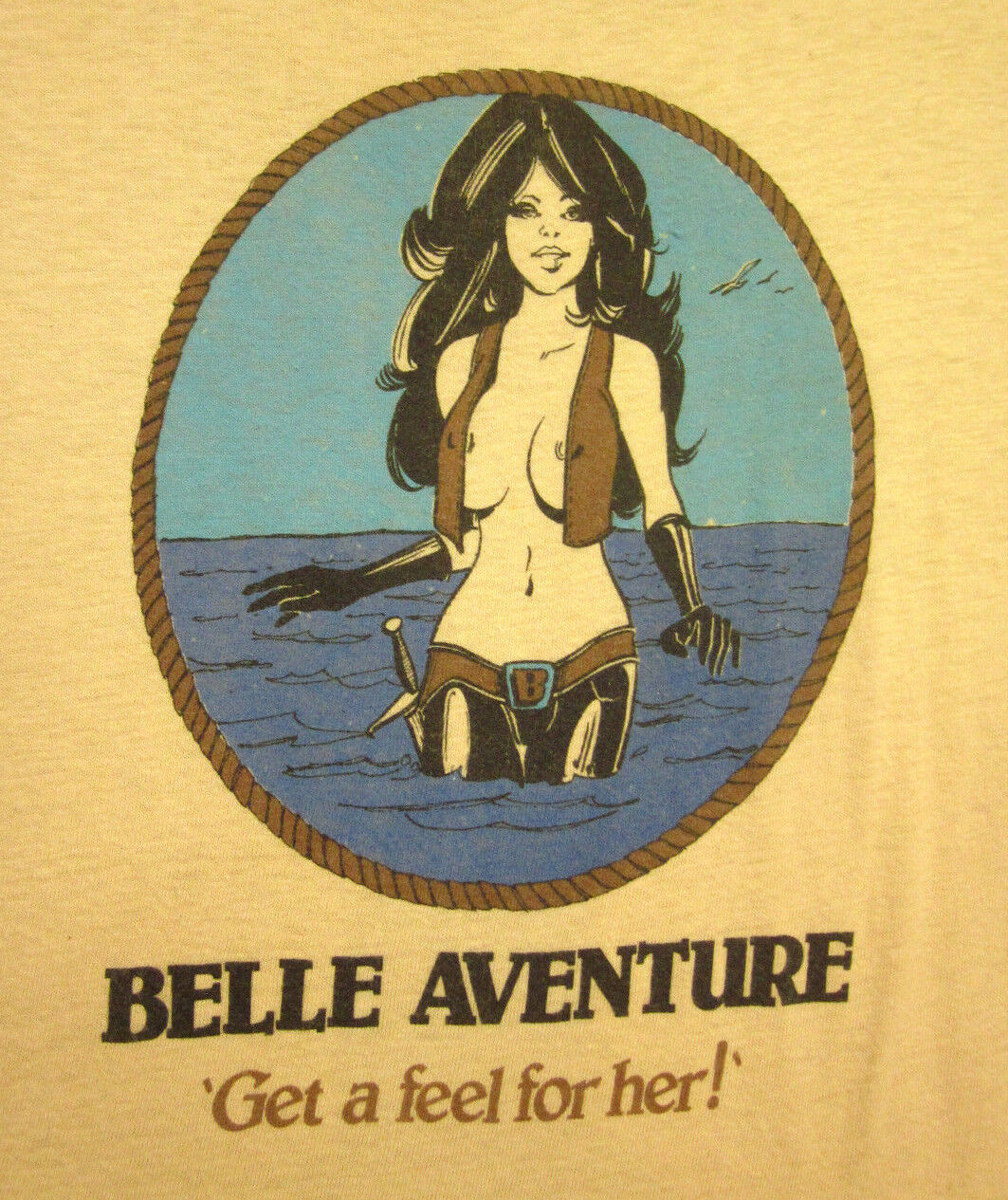 BELLE AVENTURE vtg tall ships T shirt XL sexy French comic-book yacht tee 1980s