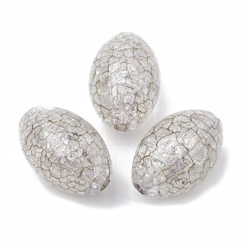 10 Pièces Acrylique Perles 20x13 mm Perles Crash Effet Argent Clair Métallisé 2316