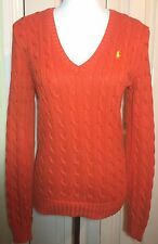 Ralph Lauren Sport Women Orange V Neck Cable Jumper Sweater Size S