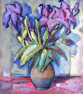 painting-art-Evdushenko-socialist-realism-vintage-still-life-old-irises